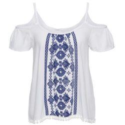 Bluzka z nadrukiem w optyce haftu bonprix biało-niebieski