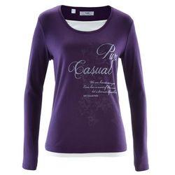 Shirt 2 w 1, długi rękaw bonprix ciemny lila z nadrukiem