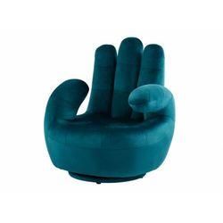 Fotel obrotowy w kształcie dłoni CATCHY z weluru - Niebieski