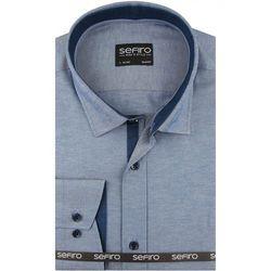 Koszula Męska Sefiro gładka błękitna melanż SLIM FIT na spinki lub guzik A116