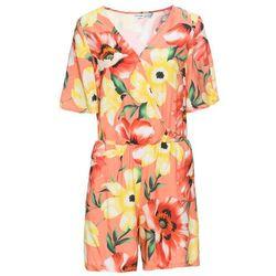 Kombinezon z założeniem kopertowym bonprix pomarańczowo-żółty w kwiaty