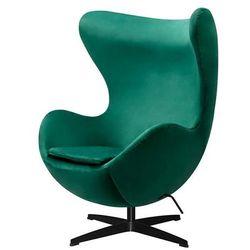 Fotel inspirowany EGG JAJO CLASSIC VELVET BLACK zielony - welur, podstawa czarna