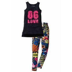 Długi top dziewczęcy+ długie legginsy z dżerseju (2 części) bonprix czarny z kolorowym nadrukiem