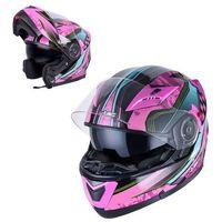 Kaski motocyklowe, Kask motocyklowy szczękowy z blendą W-TEC YM-925 Magenta, Różowo-czarny, XS (53-54)