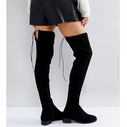 ASOS KEEP UP Wide Fit Extra Wide Leg Over The Knee Boots - Black