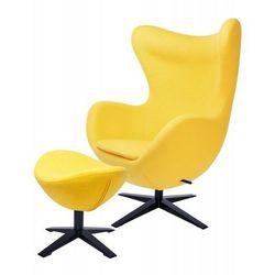 Fotel EGG SZEROKI BLACK z podnóżkiem żółty.5 - wełna, podstawa czarna