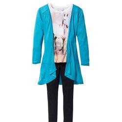 Shirt dziewczęcy + kardigan + legginsy (3 części) bonprix ciemnoturkusowo-biel wełny - czarny