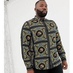 ASOS DESIGN Plus regular fit baroque leopard print placement print shirt. - Blue