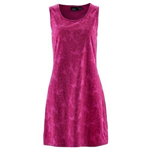 Suknie i sukienki, Sukienka shirtowa bonprix fuksja z nadrukiem