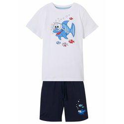 Shirt chłopięcy + krótkie spodnie (2 części) bonprix biało-ciemnoniebieski