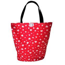 EKO torba bawełniana - serduszka na czerwonym tle