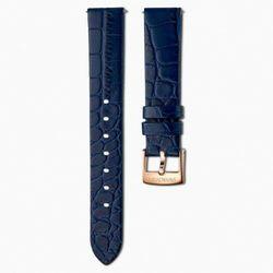 Pasek do zegarka 17 mm, skóra z obszyciem, niebieski, w odcieniu różowego złota