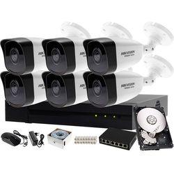 Monitoring zewnętrzny, wewnętrzny domu jednorodzinnego Hikvision Hiwatch Rejestrator IP HWN-4108MH + 6x Kamera FullHD HWI-B120 + Akcesoria
