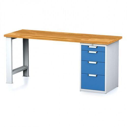 Stoły warsztatowe, Stół warsztatowy MECHANIC, 2000x700x880 mm, nogi regulowane, 1x szufladowy kontener, 4 szuflady, szary/niebieski