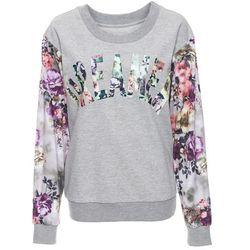 Bluza z kwiatowym nadrukiem bonprix jasnoszary melanż z nadrukiem