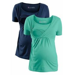 Shirt ciążowy i do karmienia (2 szt.) bonprix ciemnoniebiesko-niebieski mentolowy