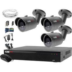 System monitoringu domowy rejestrator LV-XVR44N-II 3x kamera LV-AL30HT akcesoria