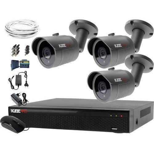 Zestawy monitoringowe, System monitoringu domowy rejestrator LV-XVR44N-II 3x kamera LV-AL30HT akcesoria