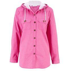 Koszula z kapturem, długi rękaw bonprix różowy w kratę
