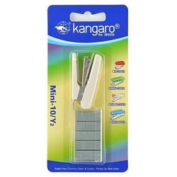 Zszywacz KANGARO Mini-10/Y2+zszywki, zszywa do 10 kartek, blister, beżowy