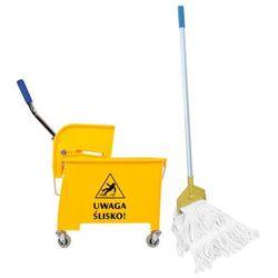 Wózek do sprzątania jednowiaderkowy 20 l z mopem sznurkowym Wiaderko na kółkach do mycia podłóg