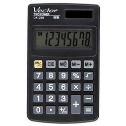 Kalkulator kieszonkowy, 8-pozycyjny wyświetlacz, podwójne zasilanie, pamięć, gumowe przyciski, plastikowa obudowa. Wymiary:102x61x8mm.