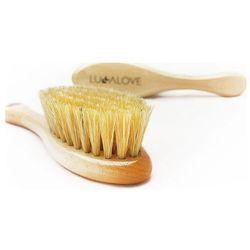 Szczotka z naturalnego włosia w zestawie z myjką miód / Lullalove