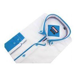 Koszula Męska Speed.A gładka biała SLIM FIT z ozdobną plisą na długi rękaw D621