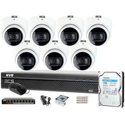 Monitoring samodzielny montaż Rejestrator BCS-NVR0801X5ME-II 7x Kamera Starlight BCS-DMIP1401IR-E-V 1TB System IP