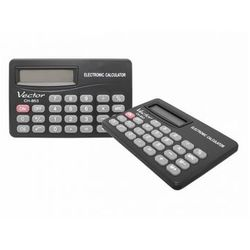 Kalkulator z wyświetlaczem 8 pozycjnym: zasilanie bateryjne, klawisz zmiany znaku +/-, klawisz włączania i wyłączania, trwała plastikowa obudowa. Wymiary: 53x83x4mm.