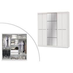 Szafa z lustrem WILHELM - 6 drzwi - dł.203 cm - Kolor: biały
