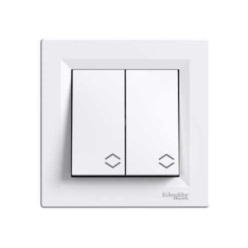 Włączniki, SCHNEIDER ASFORA Łącznik podwójny schodowy, biały EPH0600121