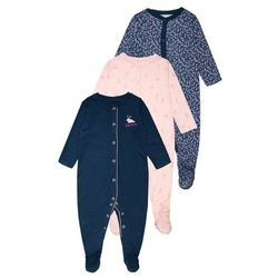 mothercare GIRLS FLORAL BUNNY SLEEPSUIT BABY 3 PACK Piżama navy