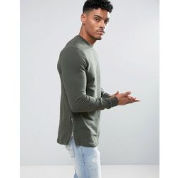 ASOS Longline Muscle Fit Sweatshirt With Side Zip in Khaki - Green