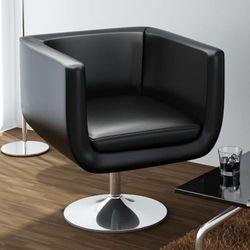 vidaXL Fotel barowy ze skóry syntetycznej, czarny Darmowa wysyłka i zwroty