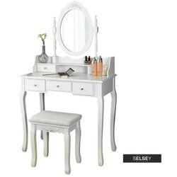 SELSEY Toaletka Shalow Dualle 80 cm z owalnym lustrem i taboretem