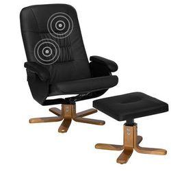 Fotel czarny ekoskóra funkcja masażu z podnóżkiem RELAXPRO