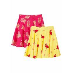Spódnica dziewczęca (2 szt.) bonprix jasna limonka - różowy hibiskus