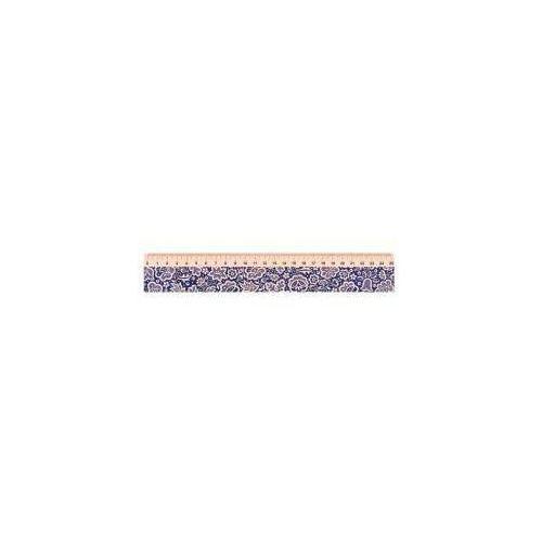 Przybory geometryczne, Linijka drewniana 25 cm kujawska niebieska FOLKSTA