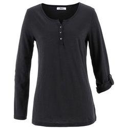 Shirt bawełniany z plisą guzikową, długi rękaw bonprix czarny