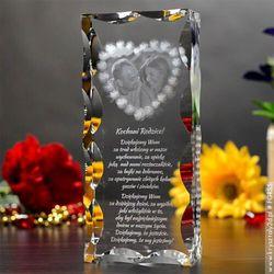 Zdjęcie w szkle otoczone girlandą z róż • MEGA WYSOKI FOTOKRYSZTAŁ 2D