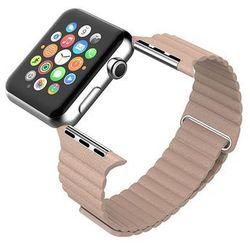 "Beżowy Skórzany Pasek ""LOOP"" - Zapięcie magnes do Apple Watch 38mm - Beżowy"