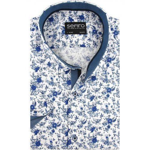 Koszule męskie, Koszula Męska Sefiro biała w niebieskie kwiaty SLIM FIT na krótki rękaw K911