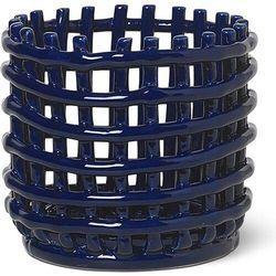 Kosz do przechowywania ferm living 14,5 cm niebieski ceramiczny