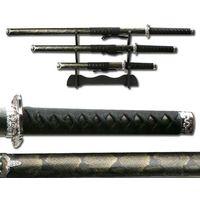 Broń treningowa, ZESTAW MIECZY SAMURAJSKICH, ZE STOJAKIEM, SKÓRA WĘŻA (SW-70B4)