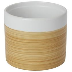 Doniczka ceramiczna GoodHome ozdobna 14 cm efekt drewna