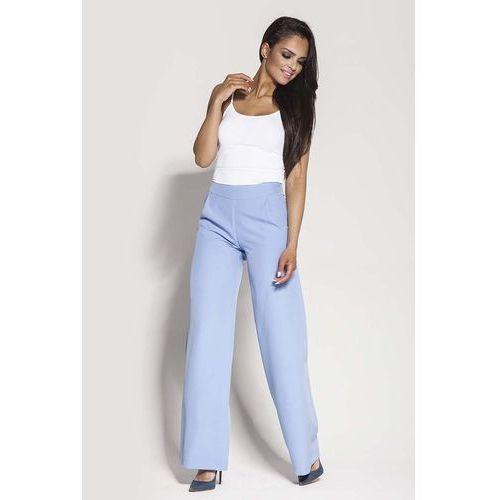 Spodnie damskie, Niebieskie Spodnie z Szerokimi Nogawkami