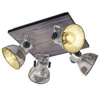 Lampy sufitowe, Plafon Eglo Barnstaple 49653 lampa sufitowa oprawa spot 4x40W E27 czarny / brązowa patyna