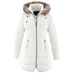 Krótki płaszcz z kapturem bonprix biel wełny