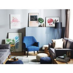 Fotel granatowy - wypoczynkowy - do salonu - tapicerowany - LOKEN
